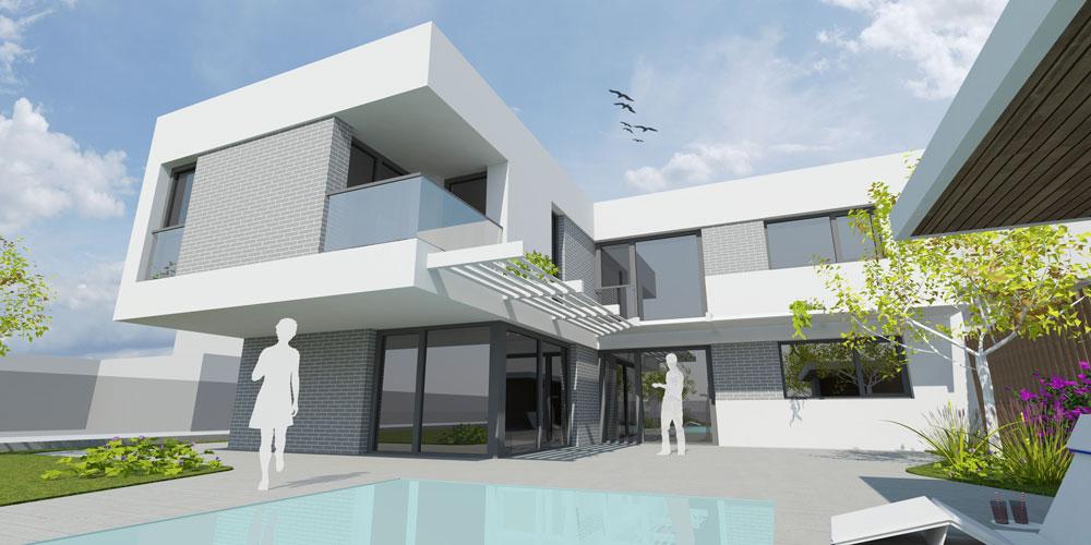 Neubau Einfamilienhaus, 2-geschossig, vollunterkellert, Pool